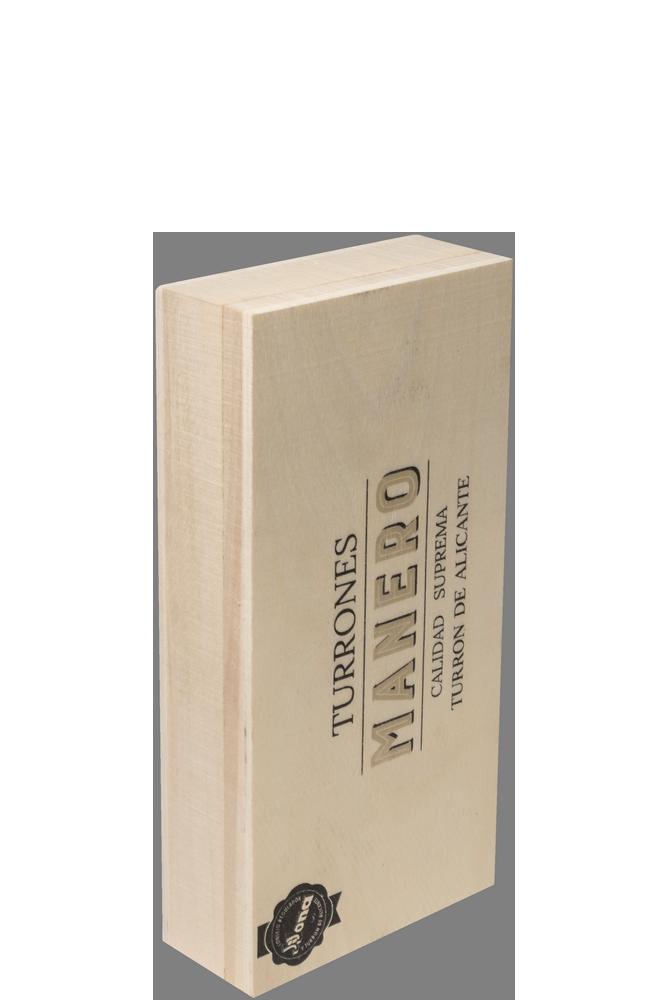 Pastilla de Turrón Alicante MANERO variedad Jijona calidad suprema en estuche de madera