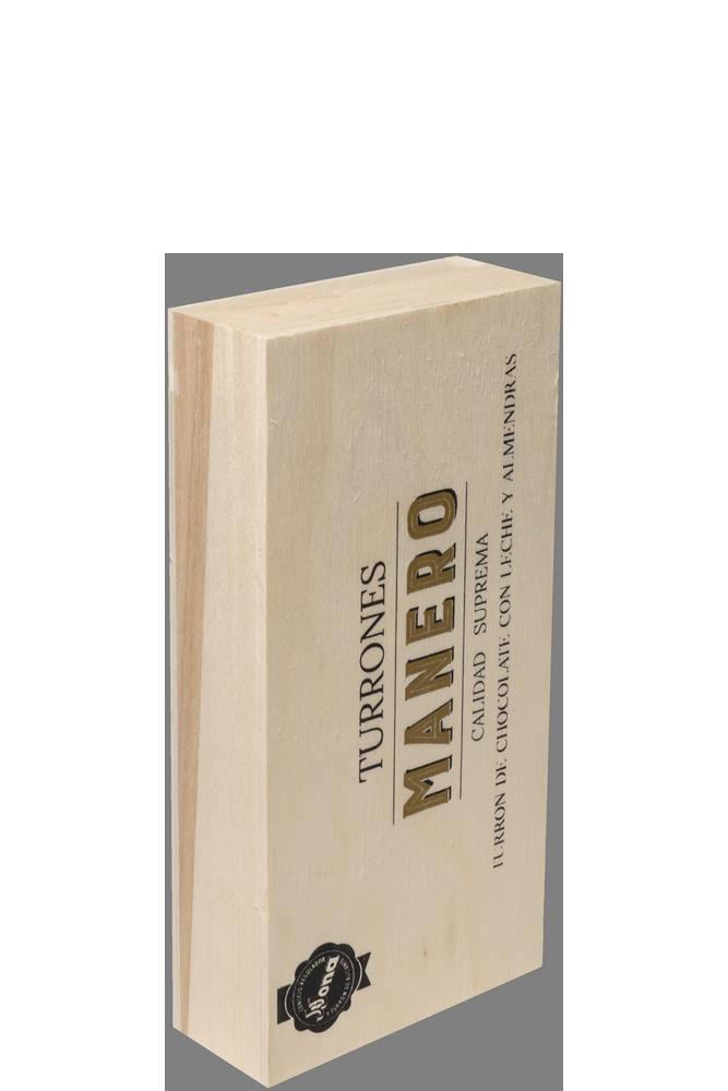 Pastilla de Turrón chocolate con leche y almendras MANERO variedad Jijona calidad suprema en estuche de madera