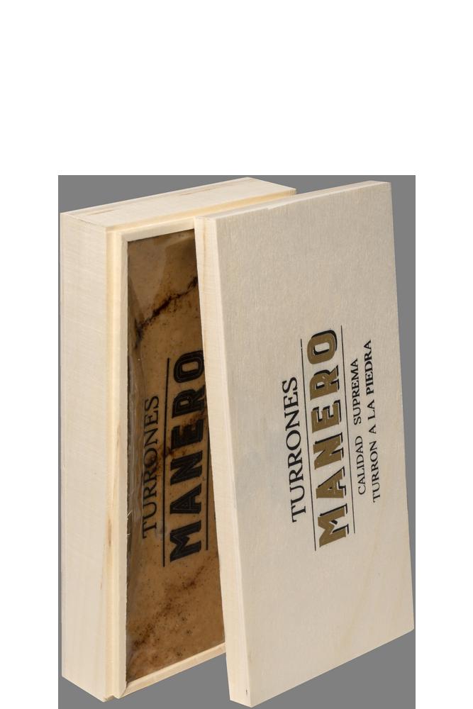 Pastilla de Turrón a la piedra MANERO variedad Jijona calidad suprema en estuche de madera