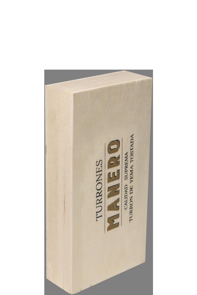 Pastilla de Turrón de yema tostada MANERO variedad Jijona calidad suprema en estuche de madera