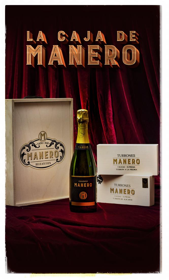 La Caja MANERO 1 champagne y turrón