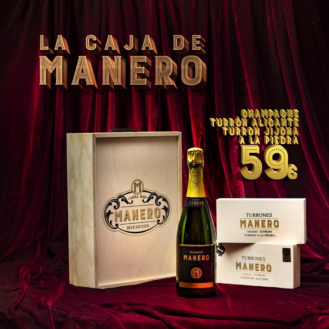 Caja Manero Champagne y Turrón 59€